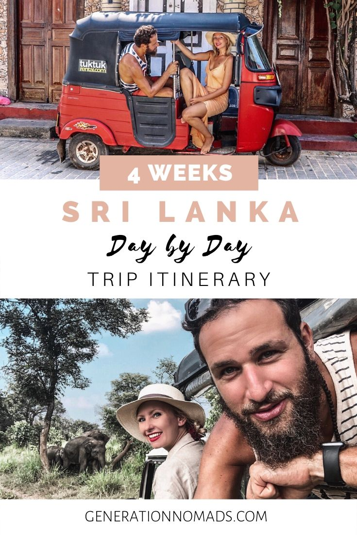 Sri Lanka has been on our travel bucket list for a long time and it's been our favorite country on our round the world trip! Sri Lanka has so many places to visit, especially off the beaten path! Explore Sri Lanka on a road trip in your own tuk tuk. Here's is a day by day guide for a Sri Lanka itinerary, including Unawatuna, Dalawella Beach, Tangalle, Ella, safari, whale watching, swimming with turtles, and more! Plus DISCOUNT CODE for renting a tuktuk!