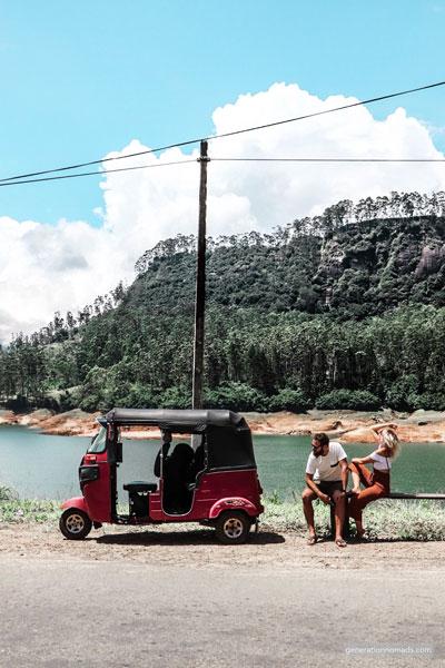 Tuk tuk Sri Lanka Stopping by a beautiful lake with our Tuktuk
