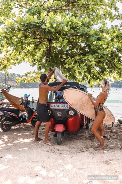 Tuk tuk Sri Lanka- Going surfing with our Tuktuk
