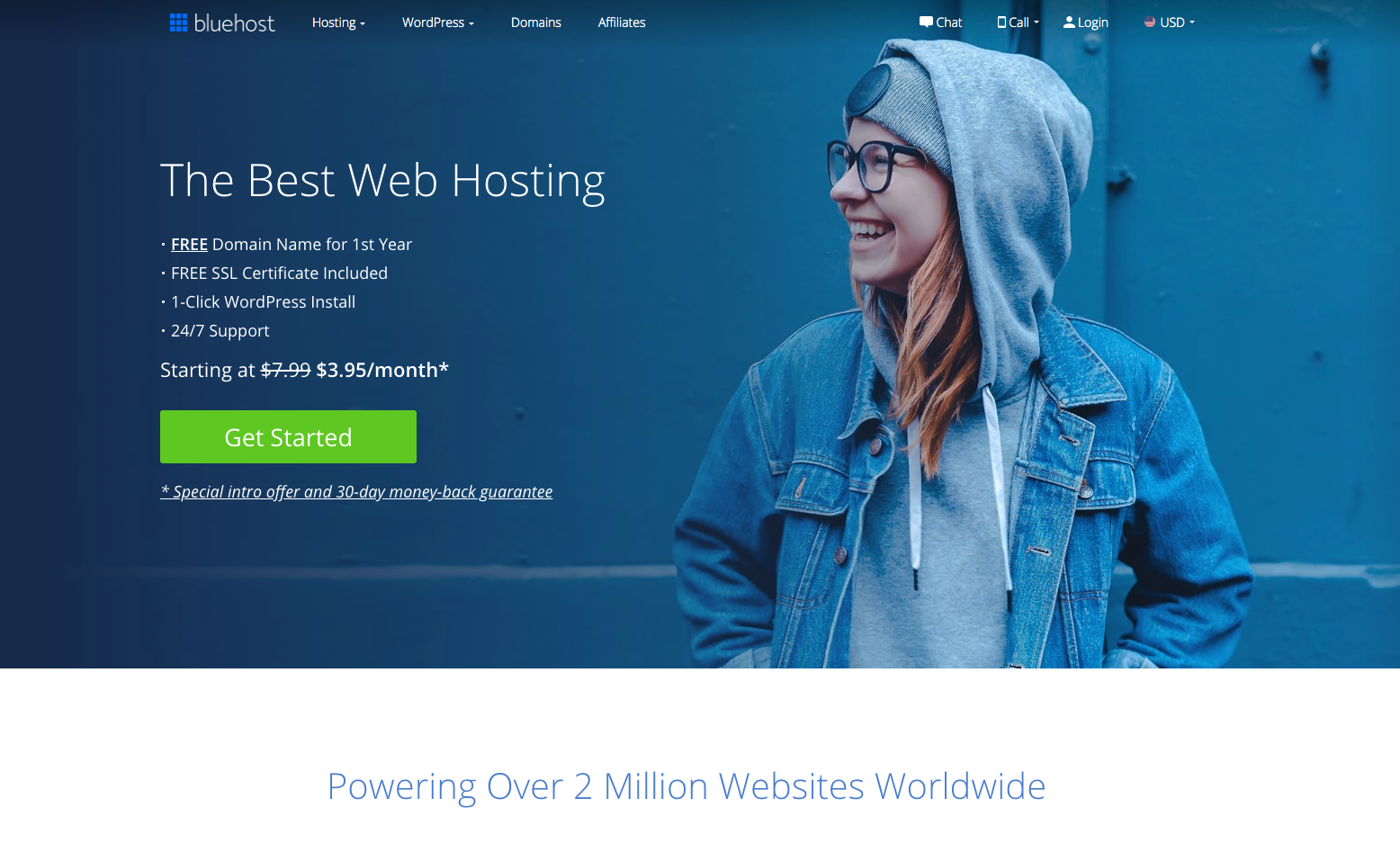 How to start a blog web hosting sign up process with Bluehost