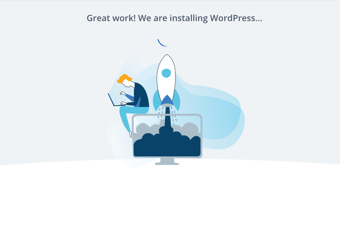 Installation process of WordPress when creating up a new blog