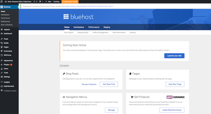WordPress account for starting a blog