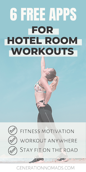 If you travel a lot, you probably know that it is difficult to stay healthy and fit on the road. Here is our list of 6 free apps that let you complete a full body workout at home, no gym needed. These are perfect for traveling if you're looking for an easy hotel room workout. We picked our favorite no equipment workout apps, so that you can exercise at home or anywhere. Perfect for digital nomads to stay fit while traveling. #traveltips #hotelroomworkout #homeworkout #digitalnomad #fitnesstips