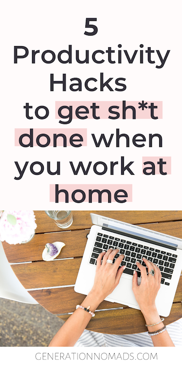 You will agree that working from home is awesome because you can plan your working hours and free time flexibly! But working from home can also be full of distractions and procrastination. Here's what I learnt from 5 years of working from home: my most effective productivity hacks and habits to be more productive when making money from home. #makemoneyonline #workfromhome #productivity #productivitytips #productivityhacks #makemoneyfromhome